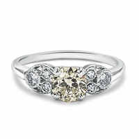 Ladies Platinum and Yellow Diamond Vintage Engagement Ring - Blaire