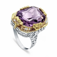 Vintage 14K Amethyst Filigree Ring