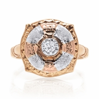 Ladies Vintage Tri Color Diamond Ring