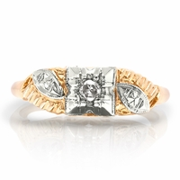 Ladies Vintage Two Tone Diamond Ring