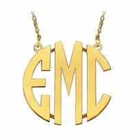 Large 10K Gold Block Letter Monogram Necklace