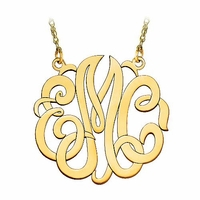 Large 10K Gold Script Monogram Necklace