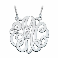 Large Sterling Silver Script Monogram Necklace