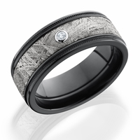 Lashbrook Meteorite, Zirconium & Diamond Wedding Band - VESTA