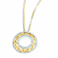 Lyria Leaf Diamond Circle Necklace
