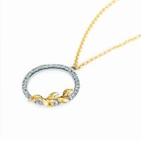 Lyria Leaf Diamond Circle Necklace, White Gold with Yellow Gold Leaf