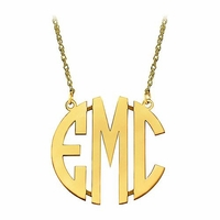 Medium 10K Gold Block Letter Monogram Necklace