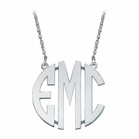 Medium Sterling Silver Block Letter Monogram Necklace