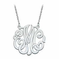 Medium Sterling Silver Script Monogram Necklace