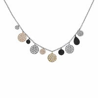 Meira T Multi Colored Diamond Disc Necklace