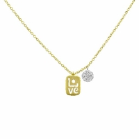 "Meira T Petite ""LOVE"" Gold & Diamond Necklace"