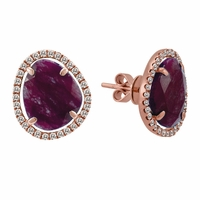 Meira T Rough Cut Ruby & Diamond Earrings
