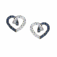 Meira T Sapphire & Diamond Heart Earrings