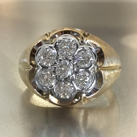 Mens Gypsy Style Diamond Cluster Ring, 1ctw