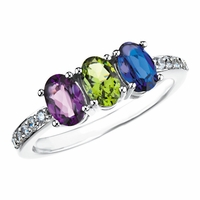 Mother's Ring with Oval Stones - Customizable