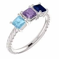 Mother's Rope Design ring with Princess Cut Stones - Customizable