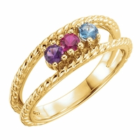 Mother's Rope Open Design Ring - Customizable