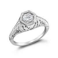 SADIE - Ladies 14K White Gold & Diamond Filigree Engagement Ring