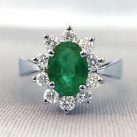 Oval Emerald and Diamond Ballerina Style Ring