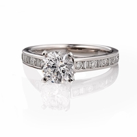 Palladium Engagement Ring by ArtCarved, Baguette and Round Channel Set
