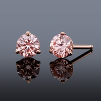 PGD Pink Diamond Stud Earrings set in 14K Rose Gold - .27ctw