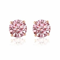 Lab Grown Pink Diamond Stud Earrings - 1.00 ctw