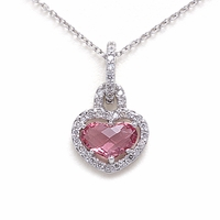 Pink Tourmaline & Diamond Heart Necklace