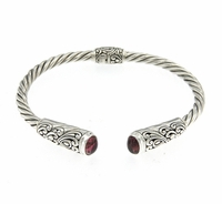 Pink Tourmaline Sterling Silver Bangle by Samuel B