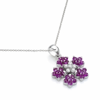 Pinkish Purple Sapphire & Diamond Flower Necklace