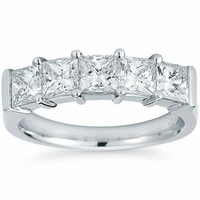 Platinum 5 Stone Princess Cut Diamond Wedding Band