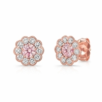 Pink Diamond Halo Earrings in 14K Rose Gold