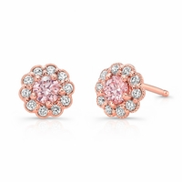 Pink Diamond Rose Gold Earrings