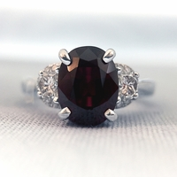 Red Spinel and Half Moon Diamond Ring