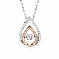 Rhythm of Love 14K White & Rose Gold Diamond Tear Drop Necklace