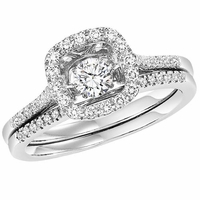 Rhythm Of Love Cushion Halo Diamond Ring Set