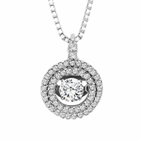 Rhythm of Love Diamond Necklace - Double Halo