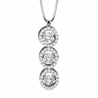 Triple Diamond Halo Rhythm of Love Necklace