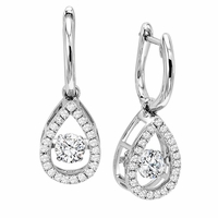 Rhythm of Love Diamond Earrings - Tear Drop Shape Halo