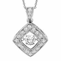 Rhythm of Love Diamond Necklace, Vintage Cushion Style, 1/3 ctw