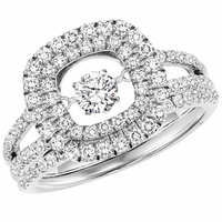 Rhythm Of Love Double Cushion Halo Diamond Ring Set