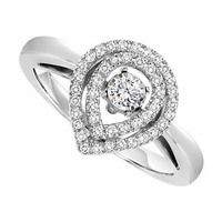 Rhythm Of Love Double Halo Pear Diamond Ring