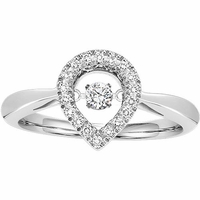 Rhythm of Love Pear Halo Diamond Ring