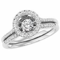 Rhythm Of Love Circle Halo Diamond Ring Set