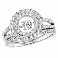 Rhythm Of Love Round Double Halo Ring Set