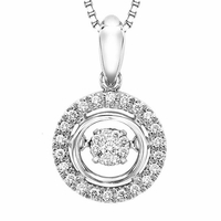 Rhythm Of Love Diamond Pendant in Sterling Silver - Halo Style