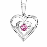 Rhythm Of Love Silver Heart Pendant -Pink Tourmaline