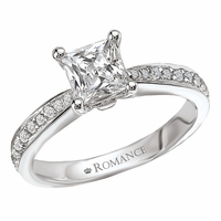 18K Princess Cut Diamond Engagement Ring .39ctw  Romance Collection