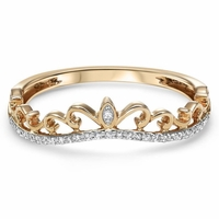 Rose Gold and Diamond Crown Ring