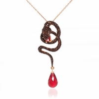 Rose Gold Snake Necklace with Red Briollete