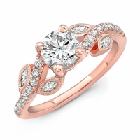 Rose Gold Vine Design Diamond Engagement Ring